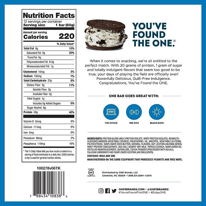 Uno, Cookies Cream Flavor, 12 bares, 2.12 oz (60 g) cada uno - ¡Oh sí!