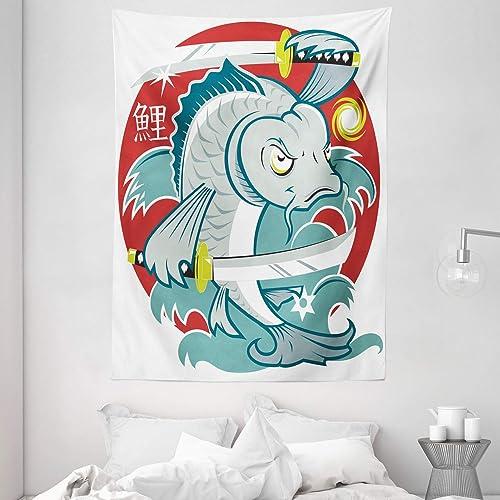 Ambesonne Japanese Tapestry, Koi Samurai on Red Background Martial Art Animal Fighter Illustration, Wall Hanging for Bedroom Living Room Dorm, 60 X 80 , White Green