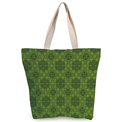 b5a4db450 iPrint Cool Canvas Tote Bag,Sage,Old Fashioned Pattern with Geometrical  Backdrop Mandala Inspired