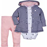 Infant Baby Boy Girl 3 Piece Set - Hooded Jacket, Pants, and Bodysuit - Cotton- Easy Snaps (Victoria, 6 Months)