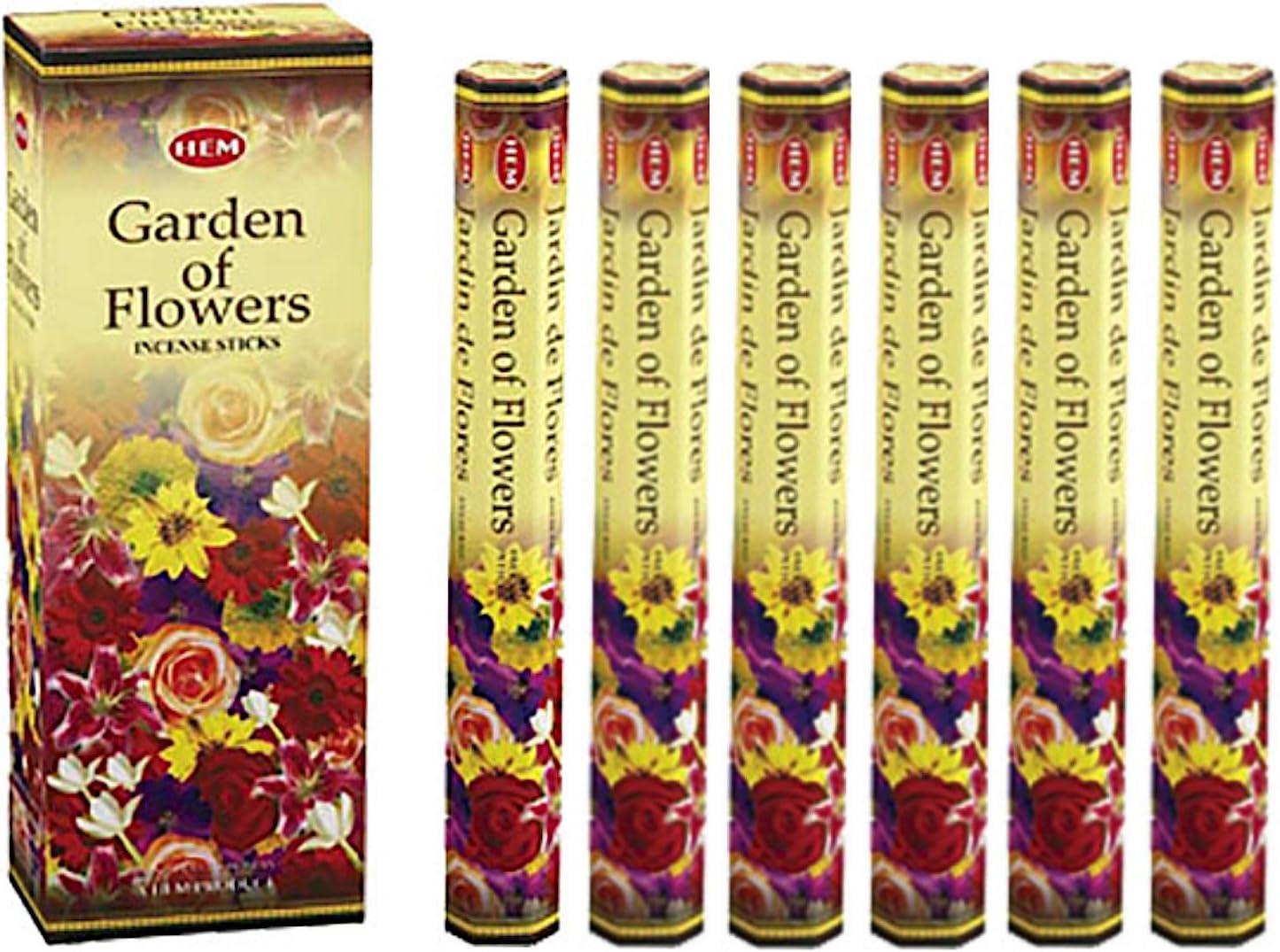 Hem 6 Pack 20 Gram Jardín de Flores – Caja de Six 20 Varilla Hex Tubos – Dobladillo Incienso Enrollado A Mano En India: Amazon.es: Salud y cuidado personal