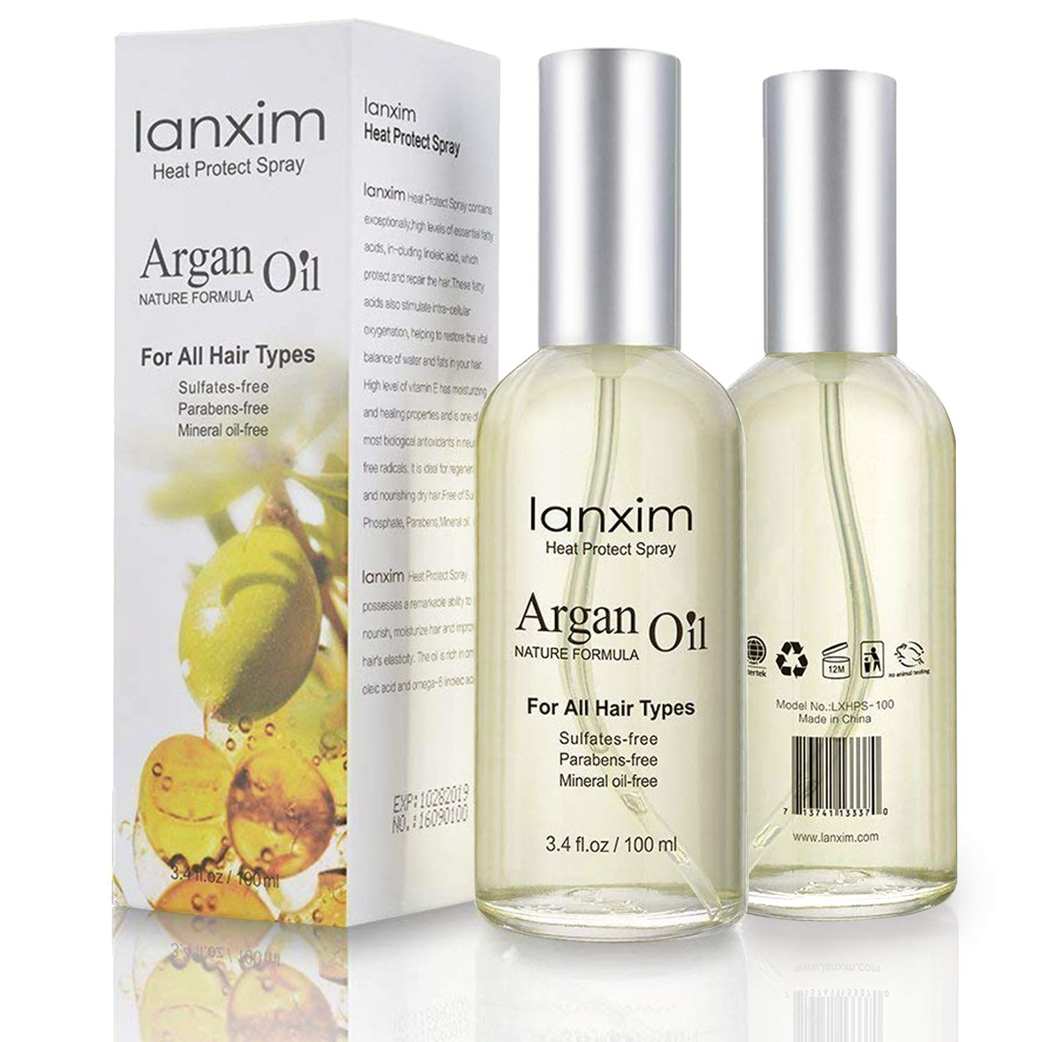 Argan Oil Hair Spray Sunscreen Heat Protection - Thermal Shield Pre Styling Heat Defence Detangling &Conditioning Sheen Hair Spray 100ml for All Hair Types Lanxim