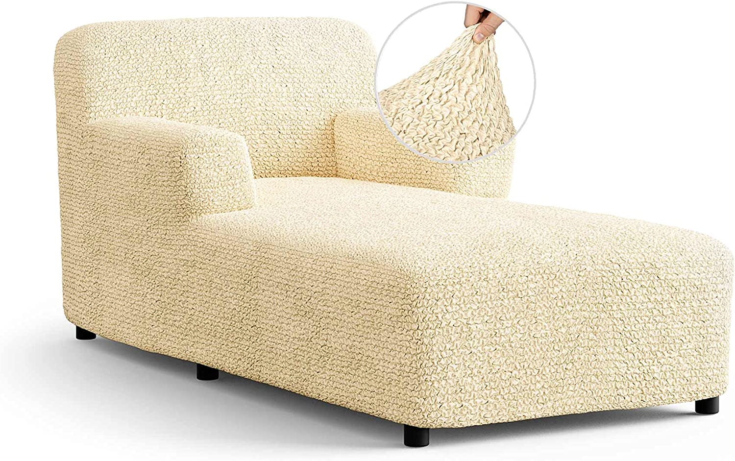 Chaise Lounge Cover - Lounge Sofa Slipcover- Soft Polyester Fabric Slipcovers - 1-Piece Form Fit Stretch Furniture Slipcover - Microfibra Collection - Vanilla (Chaise Lounge)