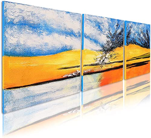 OKBONN – Texture 3D Canvas Wall Art for Living Room Office Hotel Blue Sunset Landscape Extra Large Oil Painting Hand Painted Framed Artwork Picture Horizontal Home Decor 24X72 inch