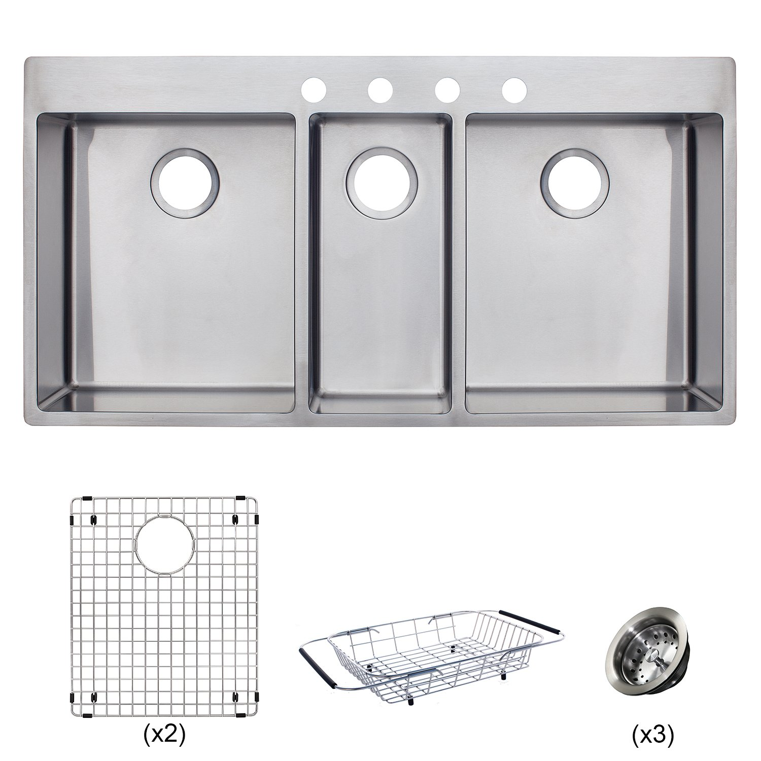 Franke HFT4322-4KIT Vector 43 inch Handmade Dual Mount Triple Bowl (3 Bowl) Kitchen Sink Kit, Stainless Steel by FRANKE