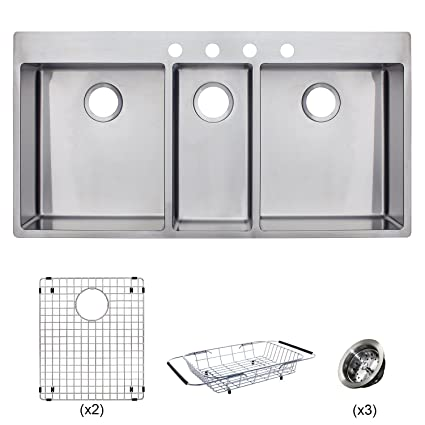 Franke HFT4322-4KIT Vector 43 inch Handmade Dual Mount Triple Bowl (3 Bowl)  Kitchen Sink Kit, Stainless Steel
