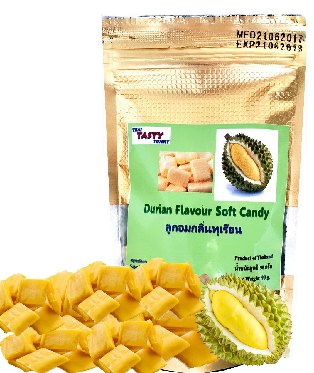 Durian Flavoured King of Fruit Soft Candy 90 g. or 3.15 Oz (Pack of 2) Thai Tasty Yummy.