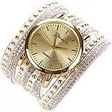 Chinatera Femme Fille Bracelet avec Montre Wristwatch Luxueux Montre de Robe Blanc