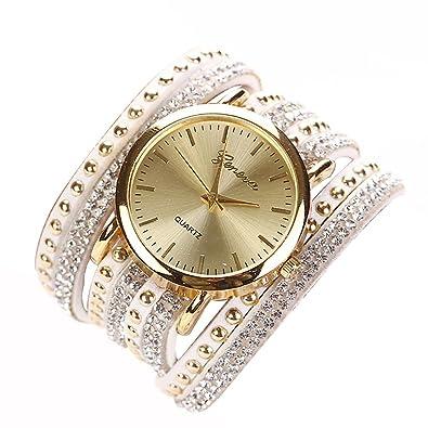 2745334a8c9 Chinatera Femme Fille Bracelet avec Montre Wristwatch Luxueux Montre de  Robe Blanc