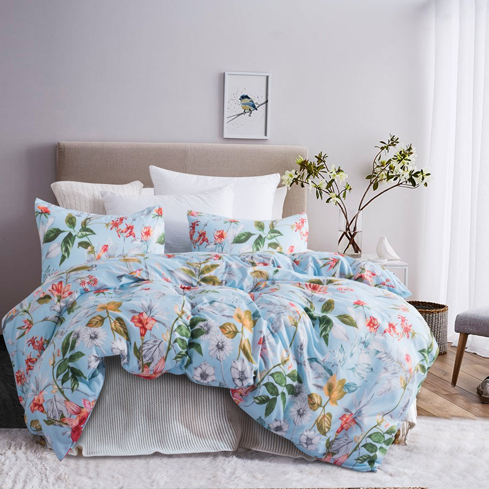 Leadtimes Queen Flower Duvet Cover Set, Girls Floral Leaf Sky Blue Bedding Set with Soft Lightweight Microfiber 1 Duvet Cover and 2 Pillowcases New Edition (Queen, Blue Floral) by Leadtimes (Image #2)