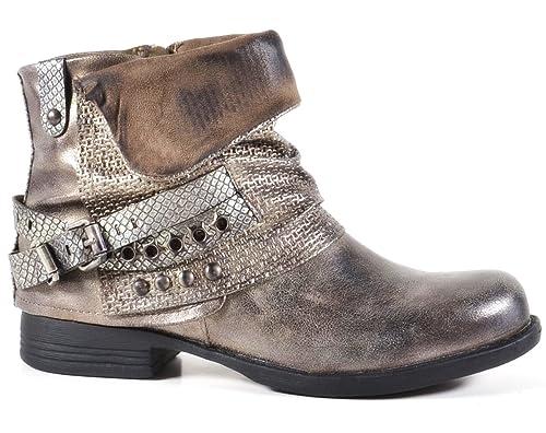 King Of Shoes Damen Stiefeletten Biker Boots mit Blockabsatz Schnallen Nieten