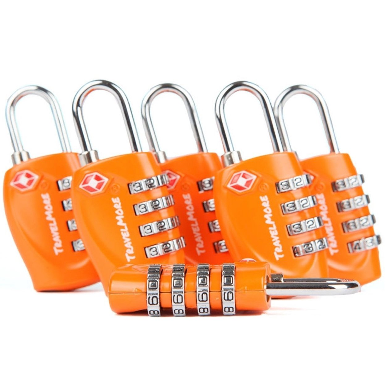 6 Pack TSA Approved Luggage Locks for Travel Safety, Small 4 Digit Combination Padlocks for Suitcases, Lockers & Bags by TravelMore