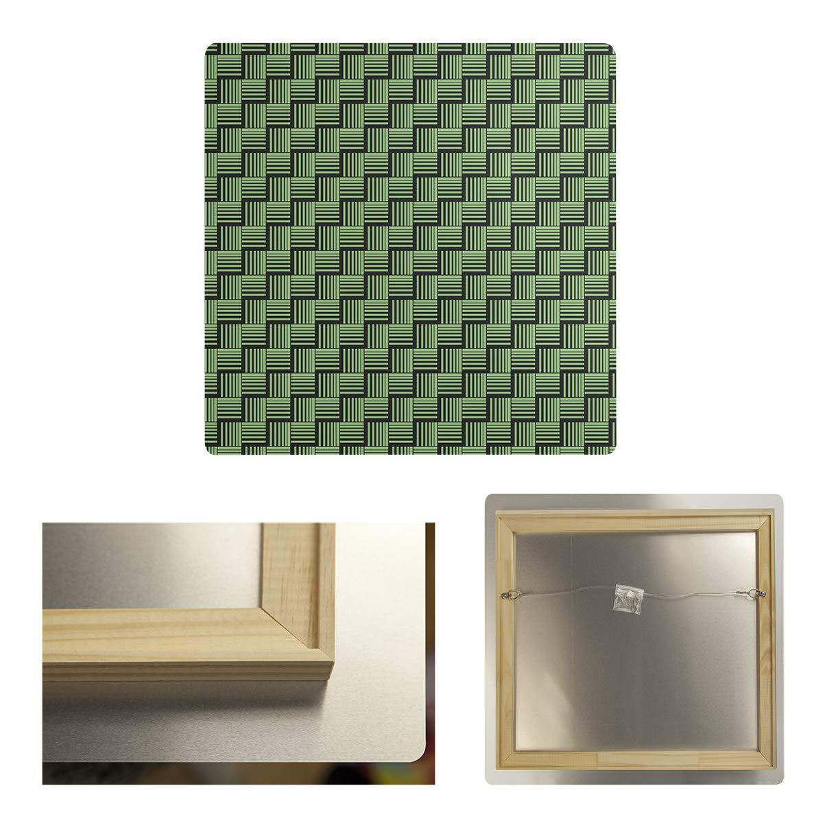 ArtVerse STR077-MA3232 Dana Strider Black Contrast Basketweave Stripes Metal Print 32 x 32 Green