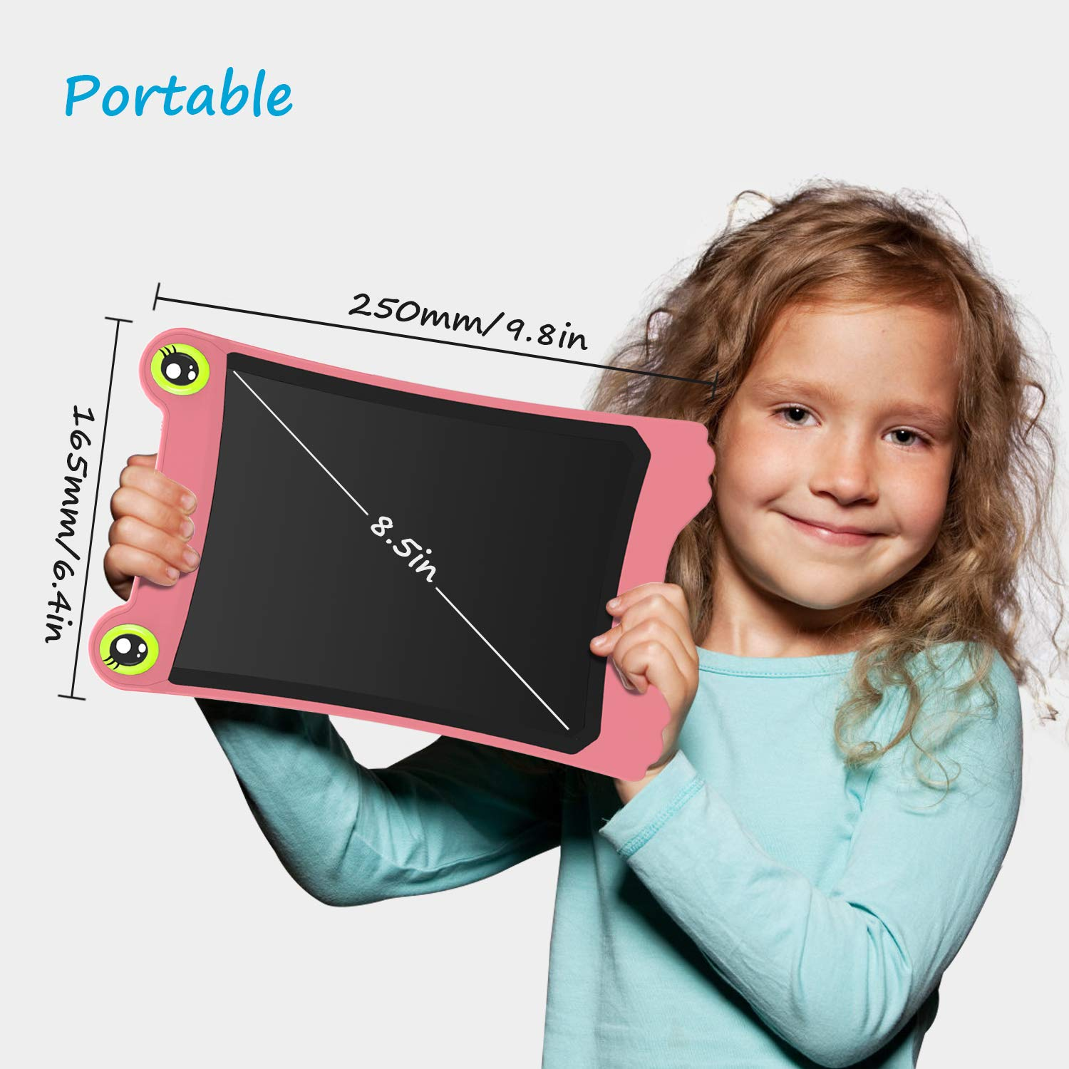 NEWYES 8.5 Inch LCD Writing Tablet Updated Frog Pad Children Electronic Doodle Board Jot Digital E-Writer Kids Scribble Toy with Lock Function Pink by NEWYES (Image #2)