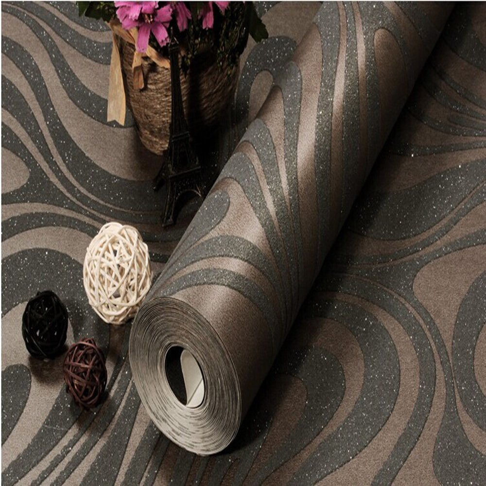 10M Modern Luxury Abstract Curve 3d Wallpaper Roll Mural Paper Parede Flocking for Striped Black&brown Color 0.7m*8.4m=5.88SQM by DAIWEI (Image #4)