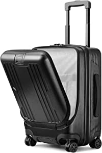 GURHODVO Front Pocket Luggage for Business - Lightweight Caryy on Rolling Laptop Suitcase 20 inch Multifunction Fashion (Black, 20in(carry on))