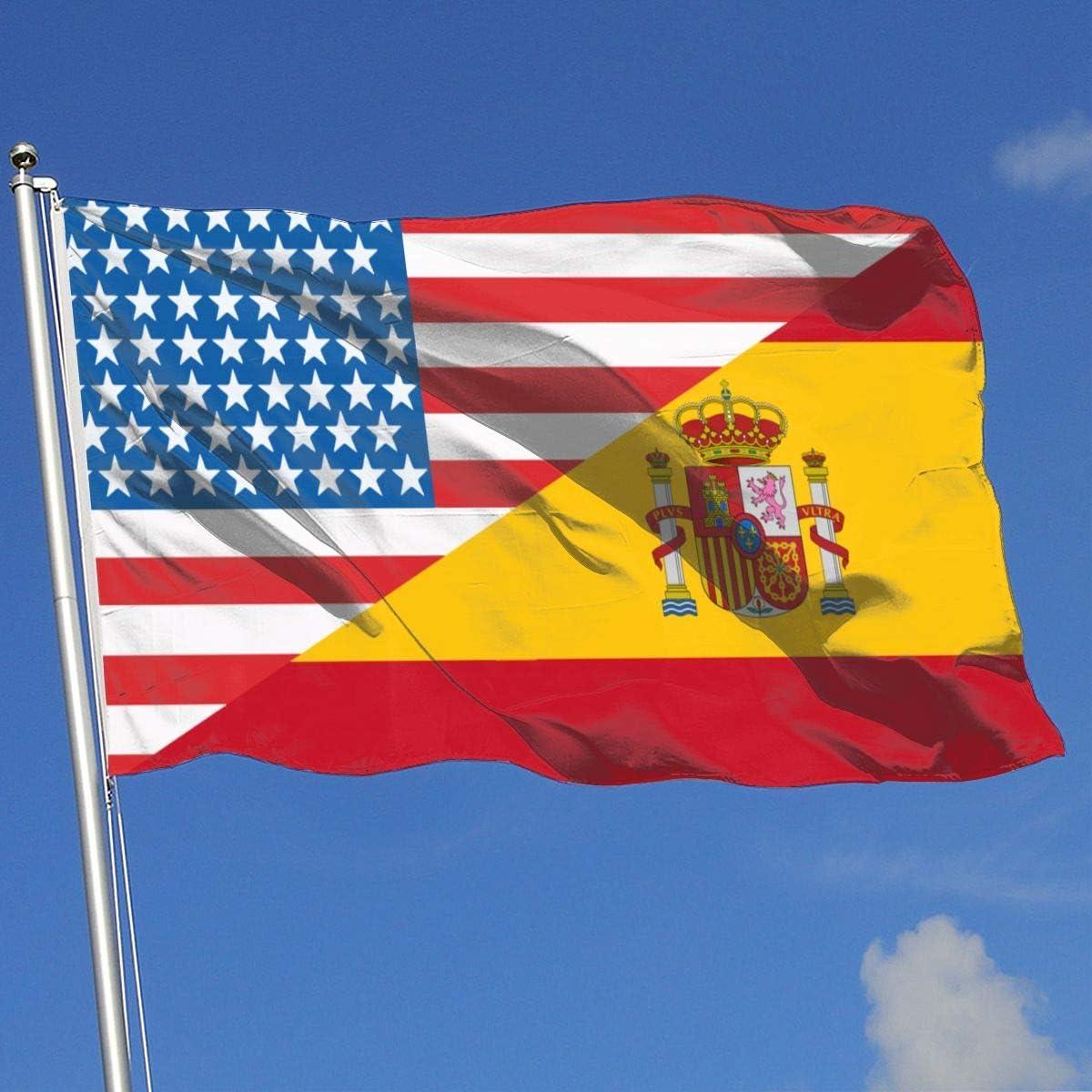 Zudrold Banderas al Aire Libre Mitad de EE. UU. Mitad de España Bandera de Bandera para fanático de los Deportes Fútbol Baloncesto Béisbol Hockey: Amazon.es: Jardín