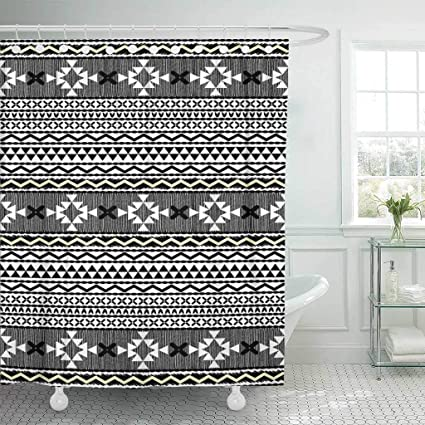 Emvency Fabric Shower Curtain With Hooks Aztec Ethnic Design Tribal Border Black Native American White Abstract