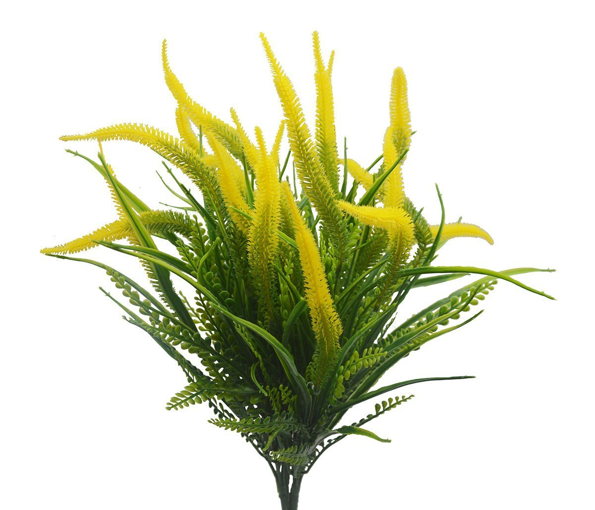 Artificial Flowers for Decoration, 4Pcs Faux Lifelike Plastic Setaria Shrubs Plants Simulation Greenery Bushes Indoor Outside Home Garden Office Wedding Decor, Yellow