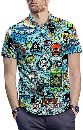 Camisa hawaiana tropical para hombre, de corte regular, de fiesta, camisa de vestir de manga corta con botones abajo, camiseta playera de verano, blusa estampada, camiseta Talla M L XL XXL 3XL: