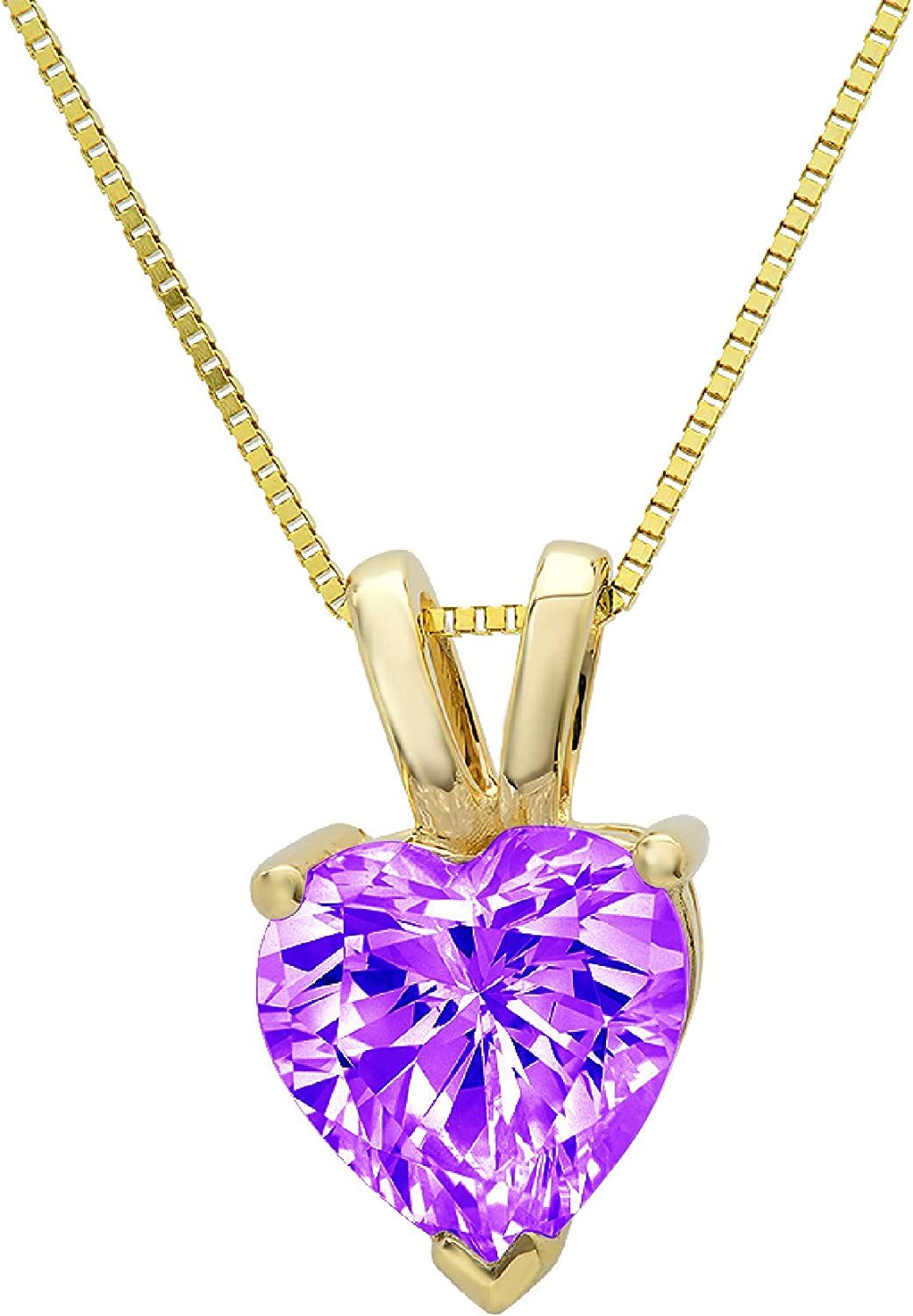 0.5 ct Brilliant Heart Cut Solitaire Designer Genuine Flawless VVS1 Pink Simulated Diamond 14K 18K Yellow Gold Pendant with 18 Chain
