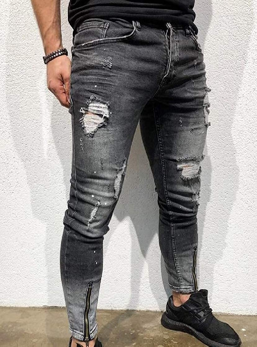 Comaba Mens Pencil Pants Ripped Distressed Skinny Faded Washed Jeans