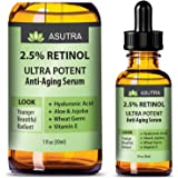 ASUTRA 2.5% RETINOL Anti Aging Serum - ULTRA POTENT & EFFECTIVE/With Hyaluronic Acid, Vitamin E, Wheat Germ, Aloe & Jojoba + FREE E-Book (one 1oz bottle)