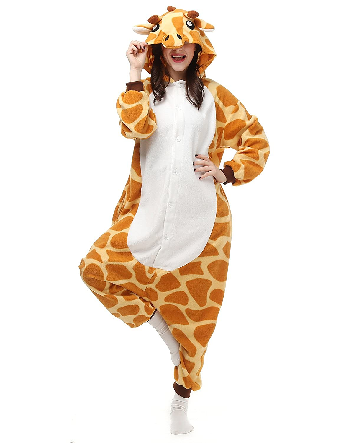 amazoncom adults onesies animal women mens giraffe onesie costumes cosplay outfit pamajas clothing