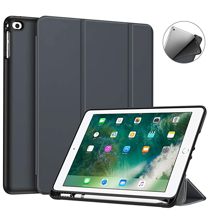 Fintie iPad 9.7 2018 Case with Built in Apple Pencil Holder   [SlimShell] Lightweight Soft TPU Back Protective Stand Cover with Auto Wake/Sleep for Ap