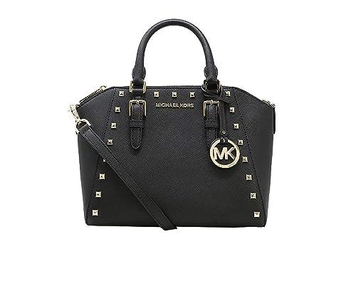 a8cada196b87 Amazon.com  Michael Kors Ciara Studded Medium Leather Messenger Shoulder Bag  (Black)  Shoes