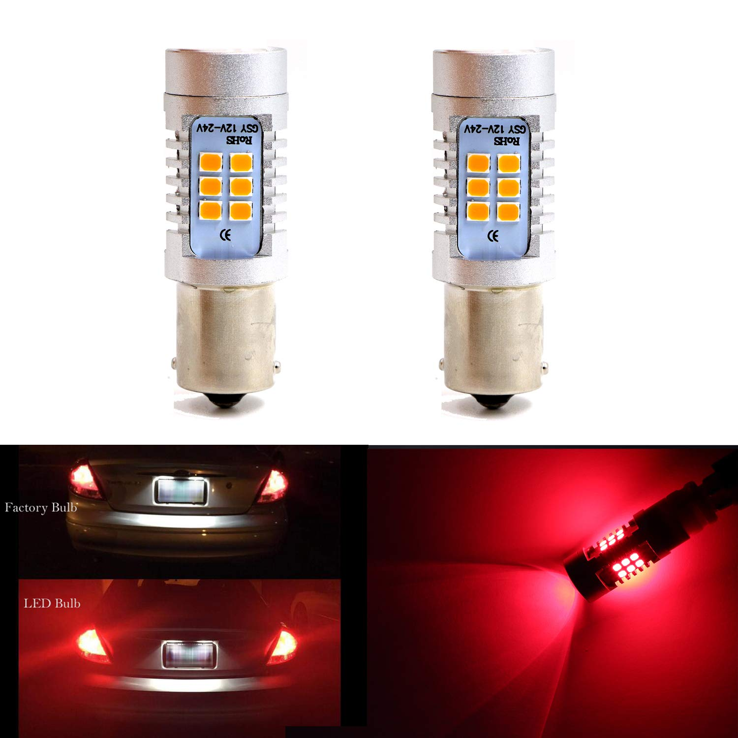 Amazon.com: 3056 3156 3057 3157 Extremely Bright LED Bulbs for Tail Lights, Brake Lights, Stop Lights, Turn Signal Blinker Lights,Red (Pack of 2): ...