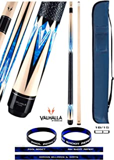 product image for Valhalla VA471 by Viking 2 Piece Pool Cue Stick Linen Wrap, Blue HD Graphic Transfers, Nickel Silver Rings, High Impact Ferrule, 18-21 oz. Plus Cue Case & Bracelet (VA471, 20)