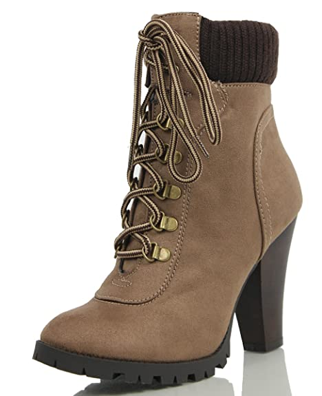 2c10a763c3f Soda Women's Rouge Faux Suede Lace Up Combat Chic Work Boot High ...