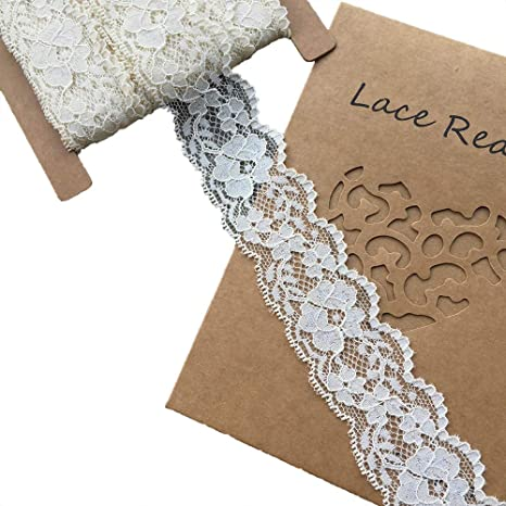 Gift Package Wrapping Lace Realm 1.2 inch Wide White Stretch Floral Pattern Lace Ribbon Trim for Sewing 3608 White Floral Designing /& Crafts-10 Yards