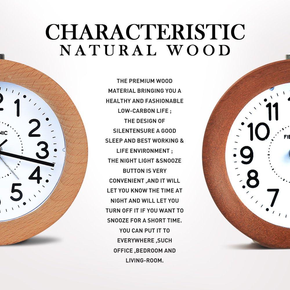 FIBISONIC Petit R/éveil Bois Classique Horloge de Table Reveil Aiguille Matin Classique Silencieux avec Lumi/ère de Nuit pour Bureau//Maison Bamboo Claire
