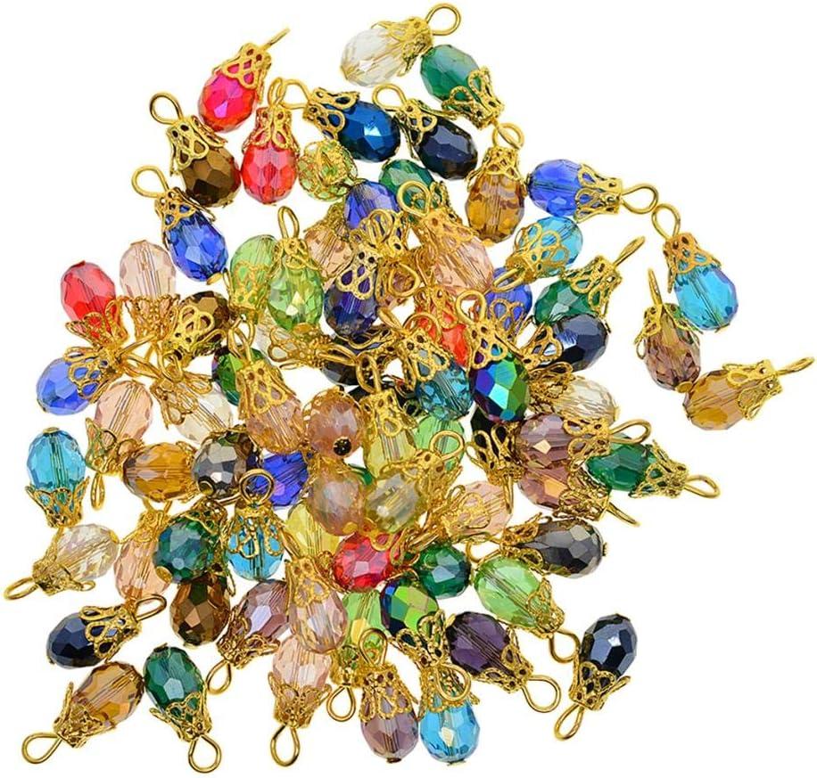 Boucles doreilles DIY Baoblaze 50 Pi/èces Perles en Verre de Cristal Rondelle Breloques pour Cr/éation Bijoux Multicolore