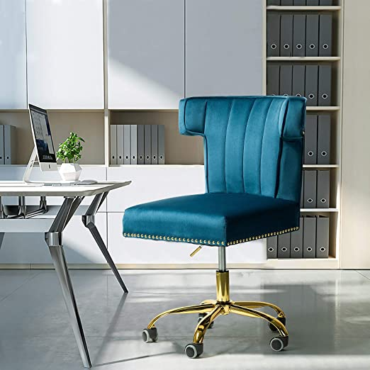 Amazon Com Alla Velvet Wingback Task Chair With Gold Base And Nailhead For Home Office Navy Kitchen Dining