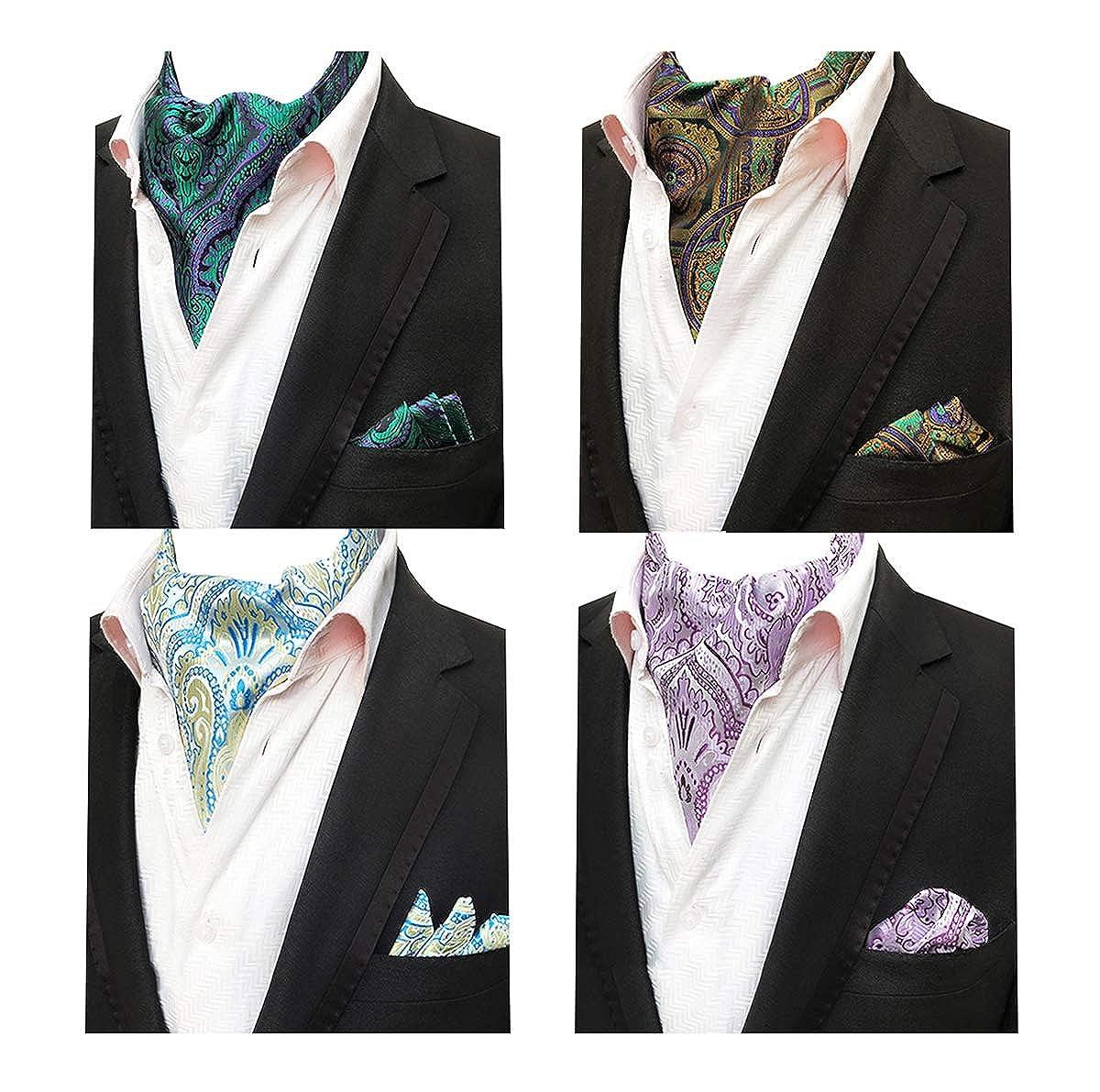 MOHSLEE Mens Exquisite 4 Pack Cravat Floral Ascot Scarf Tie /& Pocket Square Set