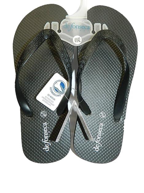 DE FONSECA Hombre Chanclas Zapatillas Negras Goma Piscina de mar Muy Ligero: Amazon.es: Zapatos y complementos