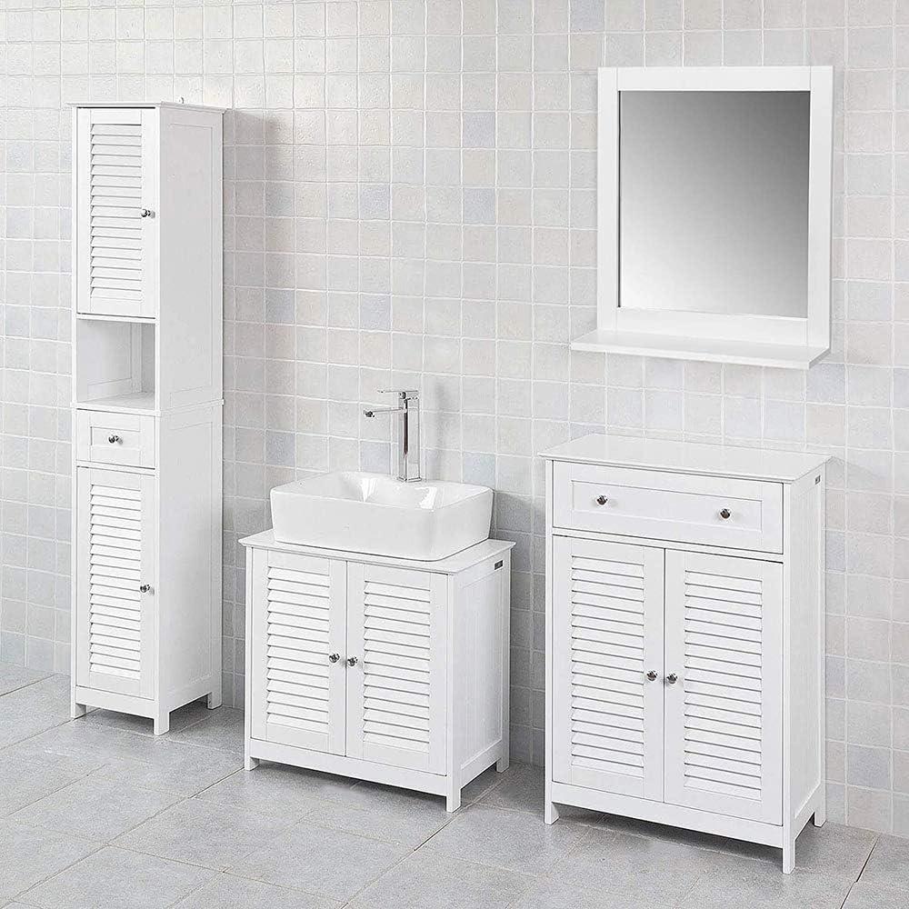 170 * 32 * 30 cm Soggiorno,Bagno,Cucina JEOBEST Mobile Colonna da Bagno con 1 Cassetto e 2 Ante per WC,Ufficio