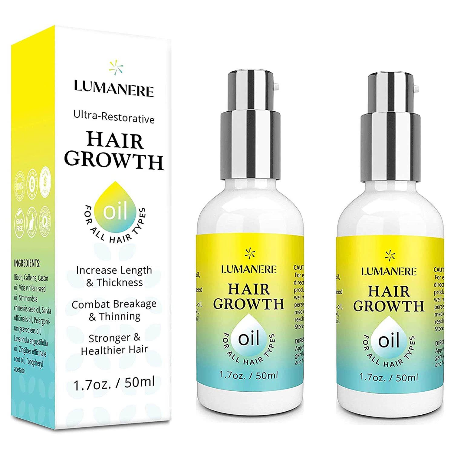 Lumanere Hair Growth Serum Hair Growth Oil with Biotin 2 Pack – Natural Hair Growth Accelerator for Stronger, Thicker, Longer Hair for Men and Women 1.7 Oz : Beauty