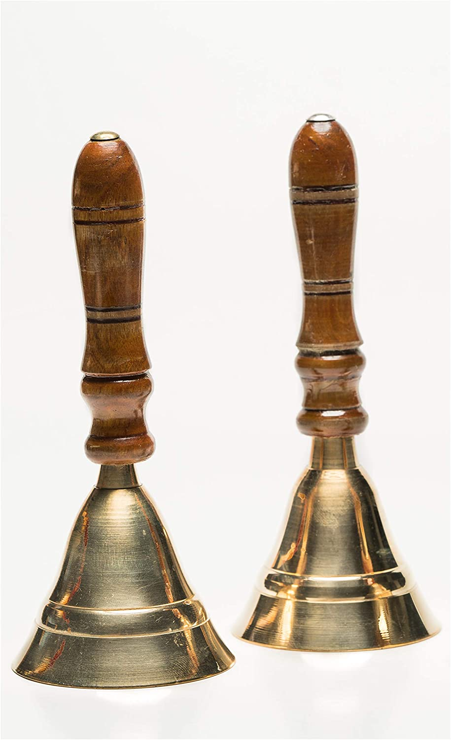 Two Hand Held Service School Butler Dinner Call Bells ~ Polished Brass With Wooden Handle
