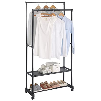 WOLTU Double Rail Garment Rack Clothes Rack On Wheels With 2 Tiers Storage  Shelves (
