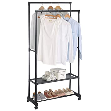 Clothes rail with shoe rack chic hanging clothes rail for Clothes rail on wheels ikea