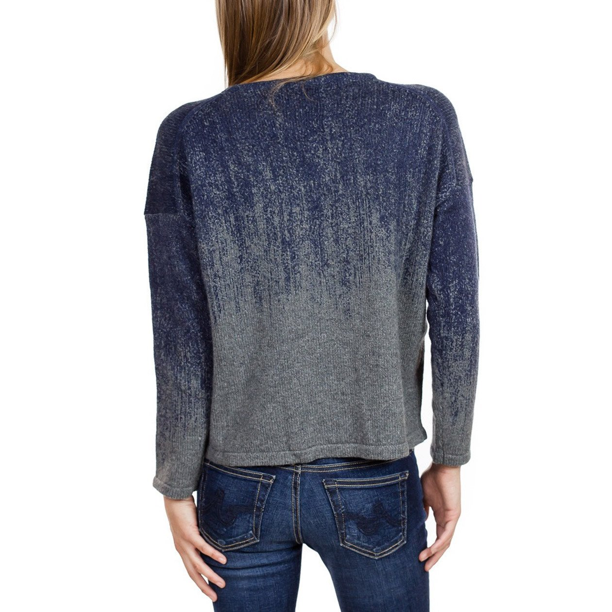 Fine Collection Womens Ombre Crewneck Sweater Heather Grey/Navy XS by Fine Collection (Image #3)