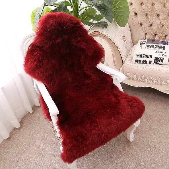 FOLWEP Sheepskin Area Rugs, Genuine Fur Rug Chair Seat Pad Shaggy One Pelt Rug, 27.6 X 43 Inch,Burgundy