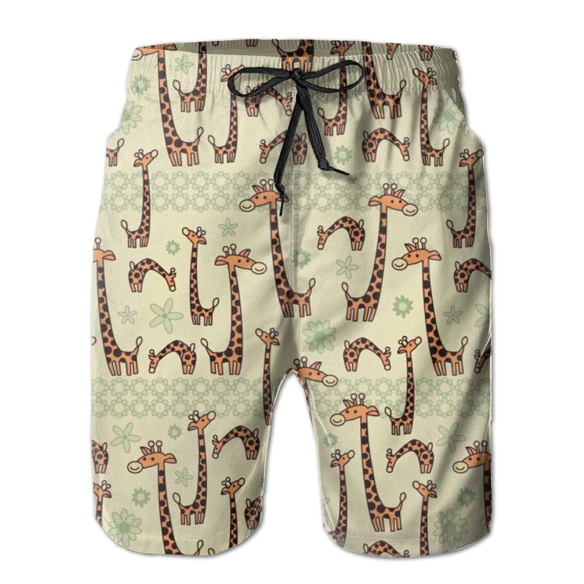 FASUWAVE Mens Swim Trunks Cute Girafee Quick Dry Beach Board Shorts with Mesh Lining