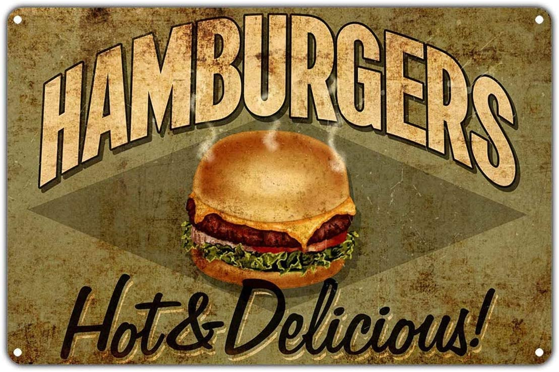 HAIMAX Hamburgers Hot & Delicious Fast Food Restaurant Retro Tin Sign 12x16 Vintage Art For Gym Ranch Basement Barber Shop Decor Personalized Metal Signs
