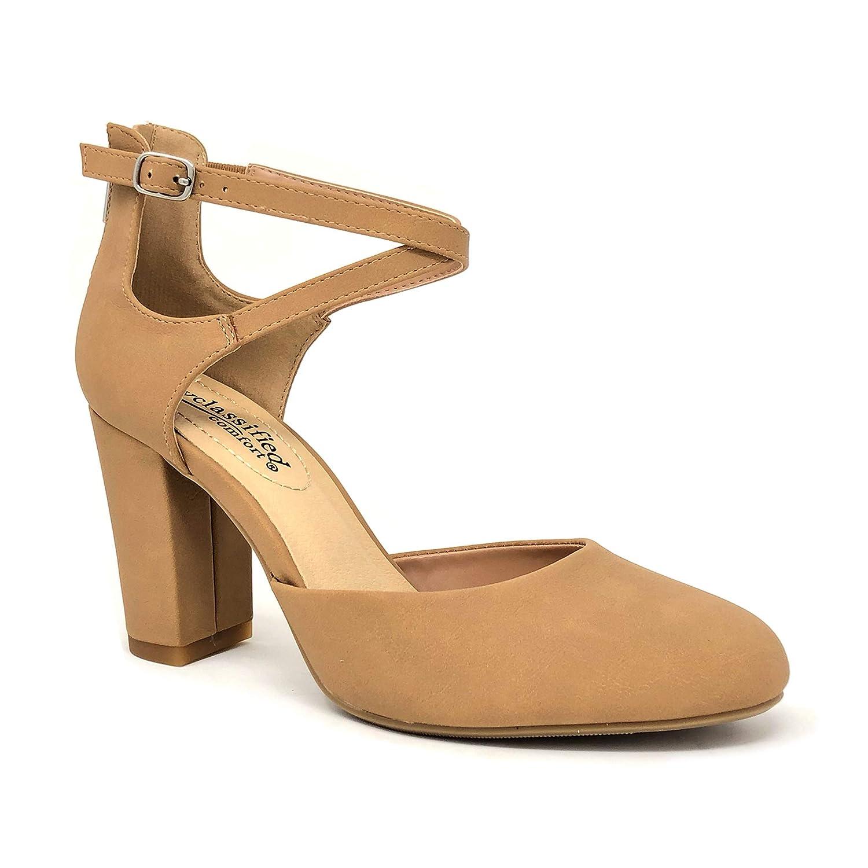 a4a5dccfd1f06 Amazon.com | City Classified Comfort Nola Women's Closed Toe Ankle Strap  Block Heel | Shoes