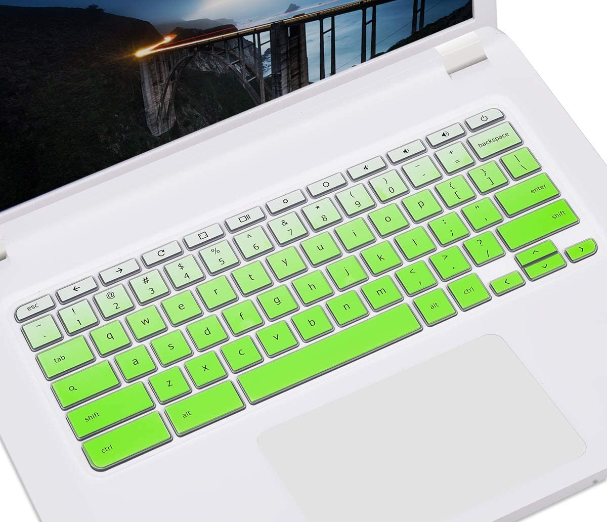 """Acer R11 Keyboard Skin Cover for Acer Premium R11 11.6"""" / Acer Chromebook 11 CB3-131 CB3-132 / Chromebook R 11 CB5-132T / 13.3"""" Chromebook R 13 CB5-312T/ Chromebook 14 CB3-431 CP5-471, Gradual Green"""
